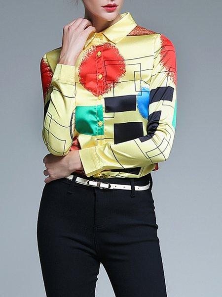 Multicolor Long Sleeve Shirt Collar Geometric Blouse