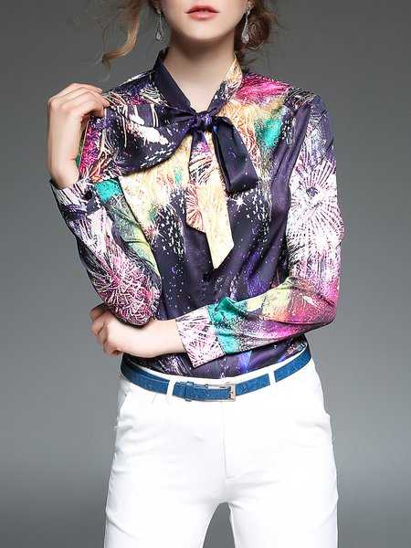 Multicolor Bow Casual Blouse