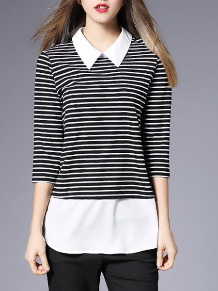 Black-white Stripes Casual Top