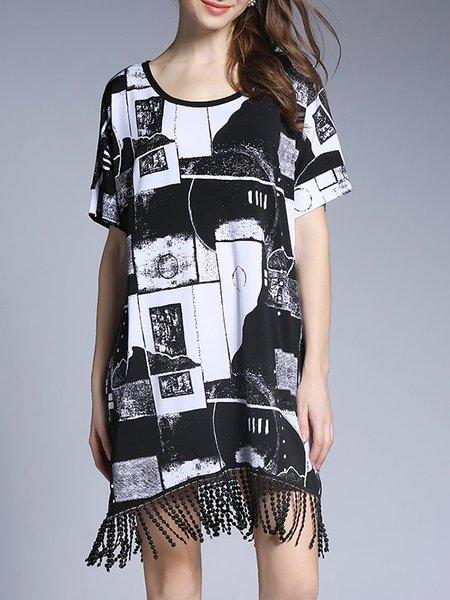 Black H-line Crew Neck Short Sleeve Fringed Beaded Midi Skirt