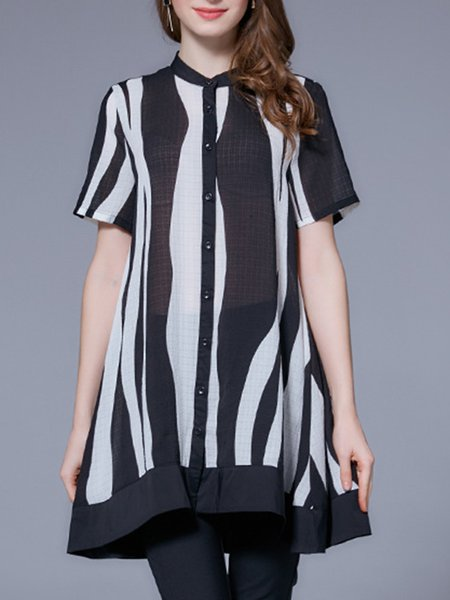 Black Casual Stand Collar Printed Tunic