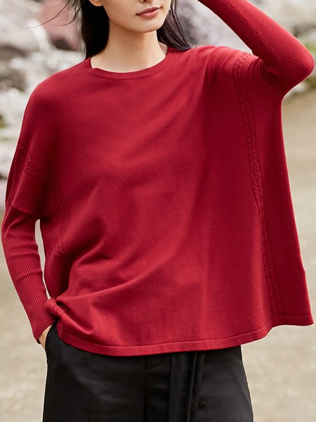 Solid Simple Knitted Batwing Crew Neck Sweater