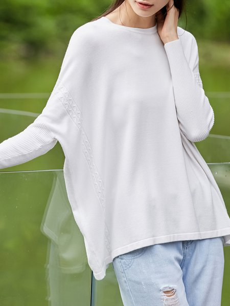 Knitted Solid Crew Neck Batwing Sweater