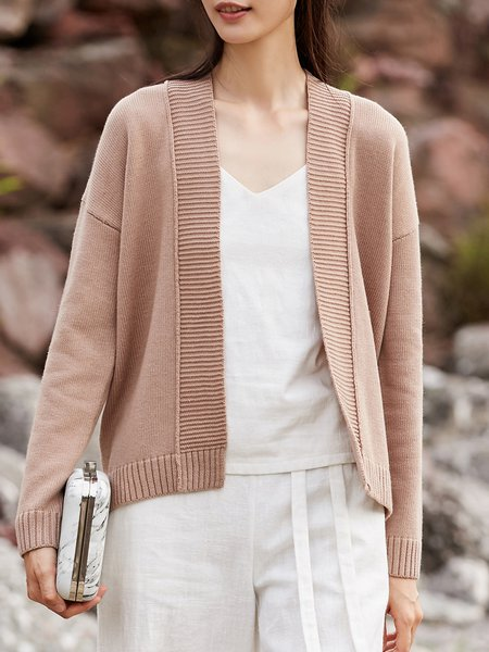 Simple Knitted Long Sleeve Solid Cardigan