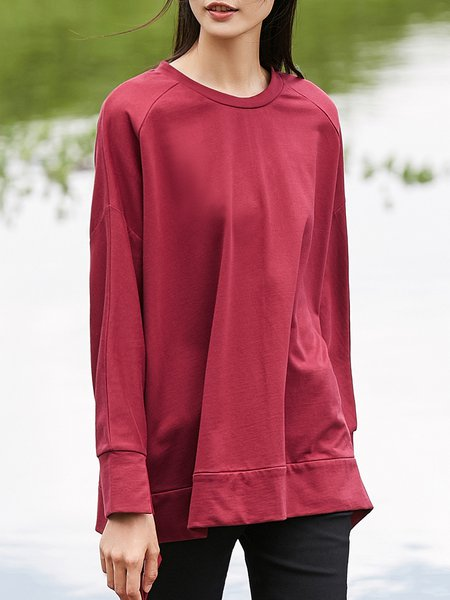 Crew Neck Simple Solid Top