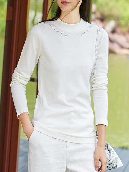 Knitted Solid Stand Collar Long Sleeve Sweater