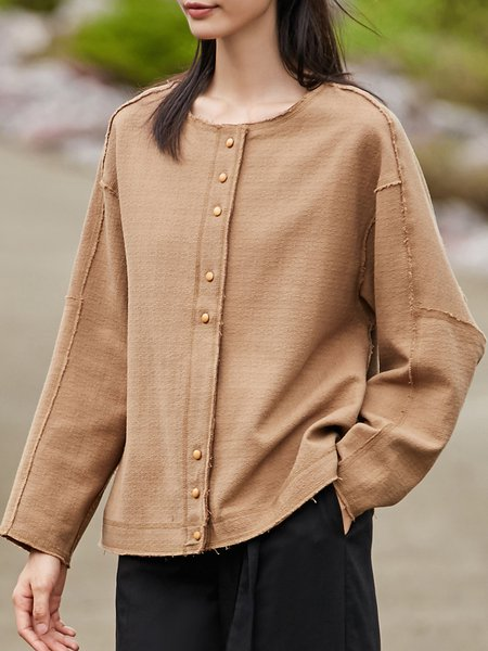 Camel Simple Buttoned Top