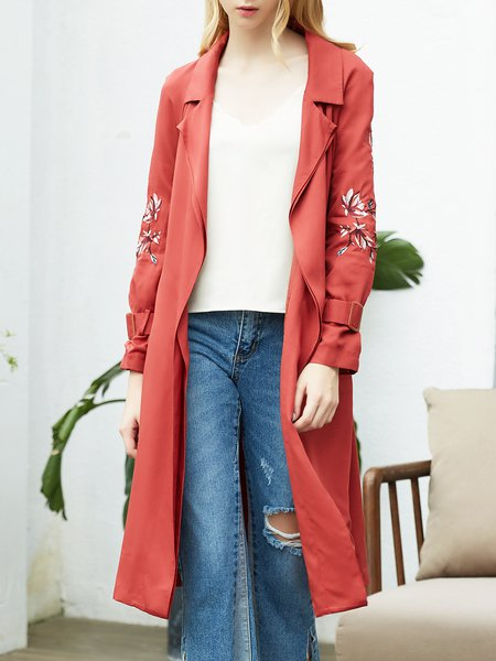 Casual Floral-embroidered Lapel Trench Coat