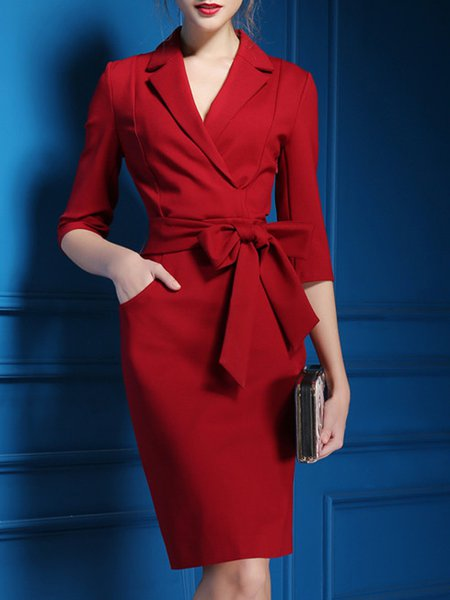 Wine Red Bow Belt Sheath Plus Size Wrap Dress