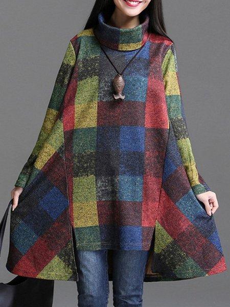 Multicolor Linen Long Sleeve Asymmetric Turtleneck Sweater Dress