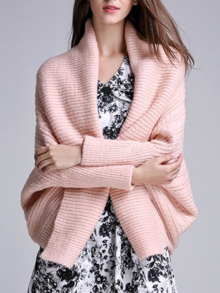 Casual Shawl Collar Knitted Long Sleeve Cardigan