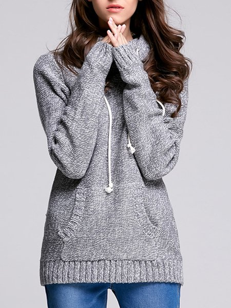 Casual Knitted Solid Hoodie Long Sleeve Sweater