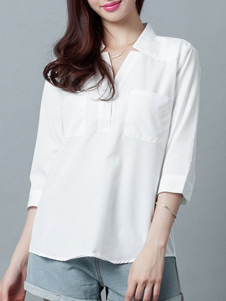 Casual 3/4 Sleeve Stand Collar Blouse