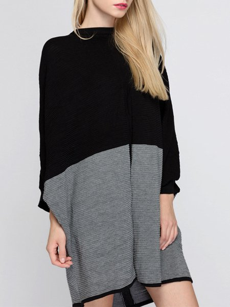 Black-grey Casual Shift Color-block Midi Dress