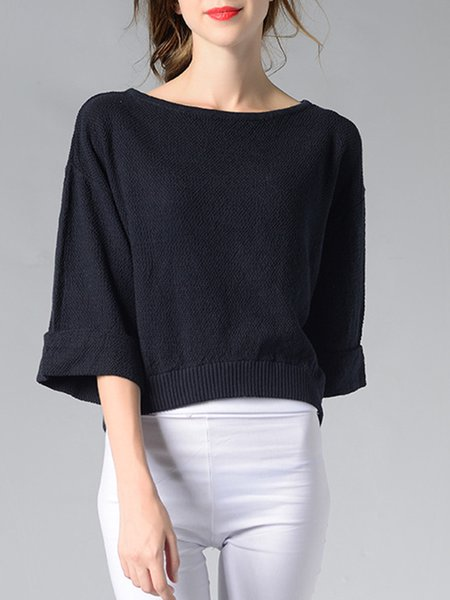 3/4 Sleeve Casual Knitted Sweater