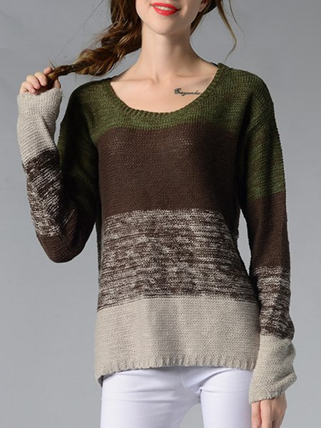 Multicolor Knitted Long Sleeve Crew Neck Sweater