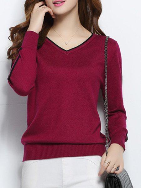 Wool Blend Knitted Long Sleeve V Neck Casual Sweater