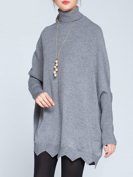 Gray Knitted Solid Batwing Turtleneck Midi Dress