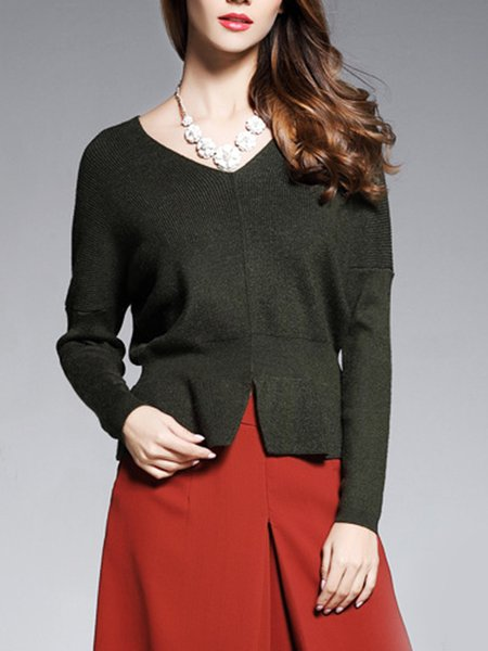 Solid Knitted Slit Long Sleeve Casual Sweater