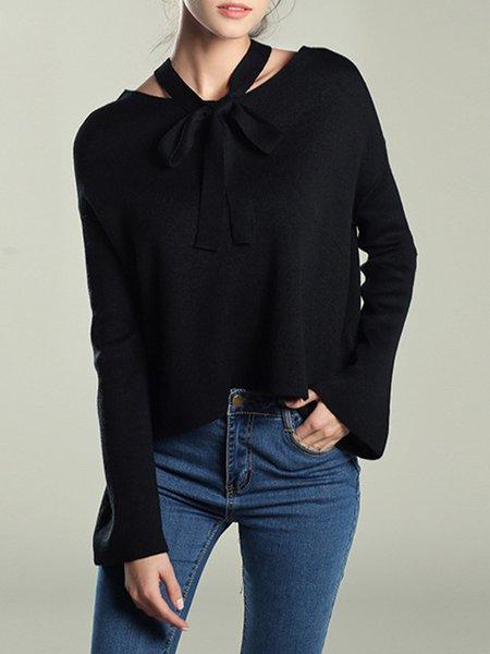 Acrylic Solid Crew Neck Long Sleeve Sweater