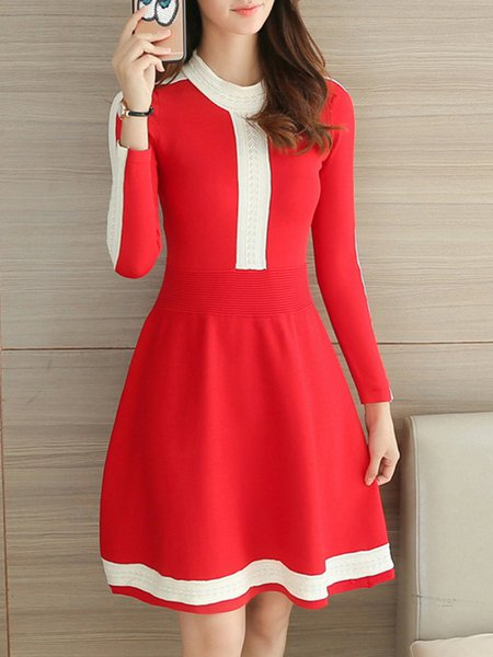 Crew Neck Casual A-line Long Sleeve Midi Dress