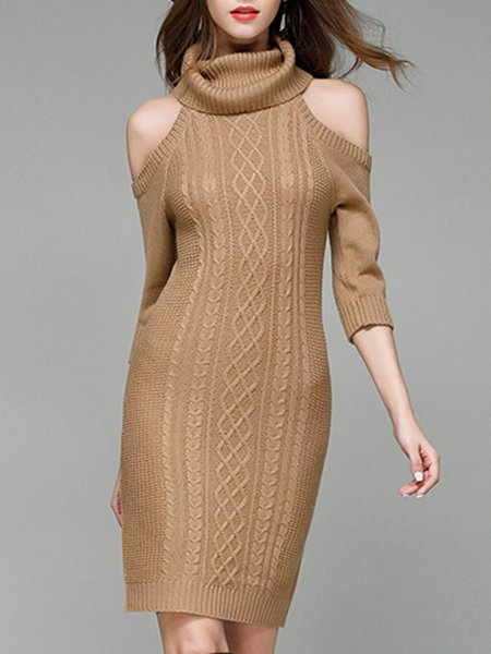 Cold Shoulder Sheath Turtleneck Elegant Midi Dresses