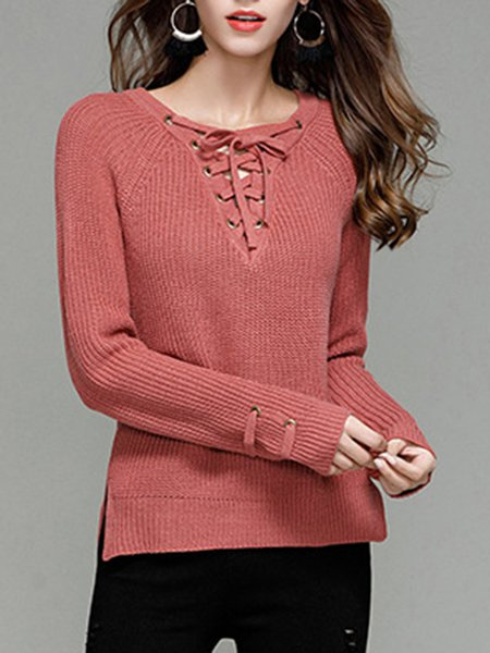 Lace Up Long Sleeve Solid Sweater