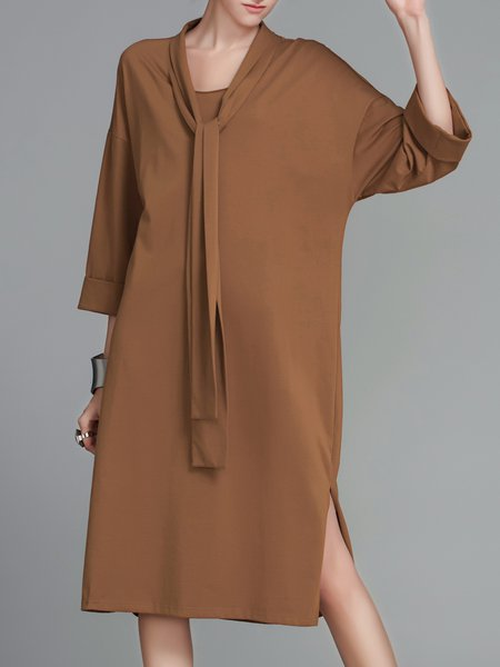 3/4 Sleeve Crew Neck Cotton Midi Dress