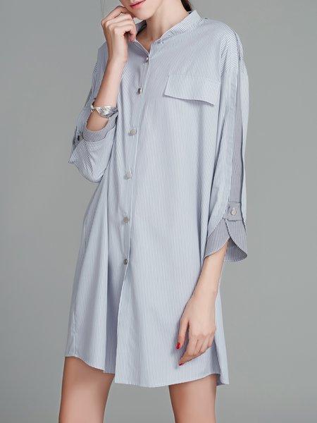 Light Blue Stand Collar Paneled Striped Casual Mini Dress