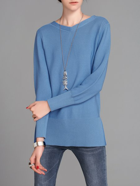 Blue V Neck Knitted Long Sleeve Casual Sweater