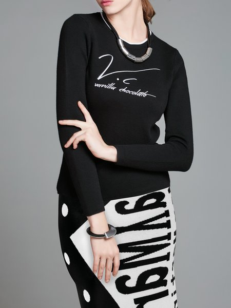 Long Sleeve Crew Neck Printed Top