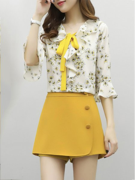 Two Piece Peter Pan Collar Casual Bell Sleeve Floral-print Romper