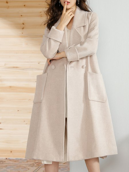 Long Sleeve Simple Solid Buttoned Coat