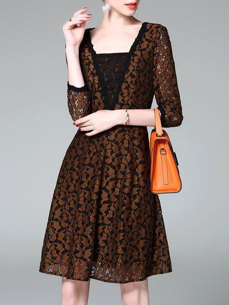 Elegant A-line  Guipure Lace 3/4 Sleeve Midi Dress