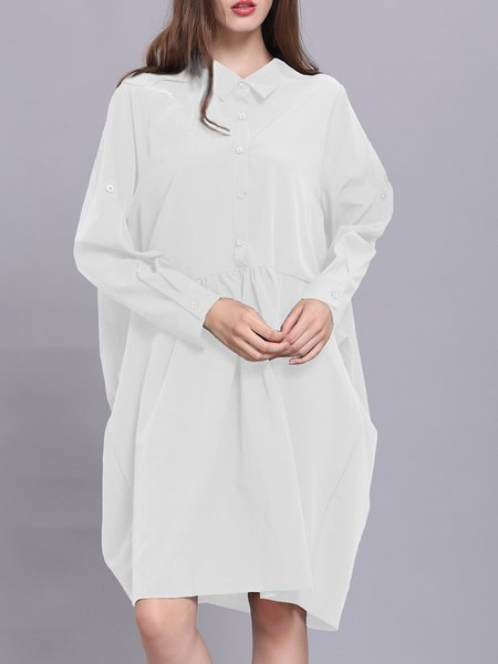 Solid Long Sleeve Casual Cocoon Midi Dress