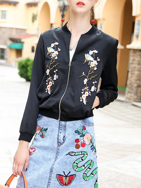 Black Stand Collar Long Sleeve Floral-embroidered Bomber Jacket