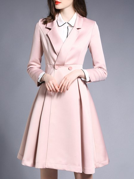 Pink Lapel Long Sleeve Trench Coat