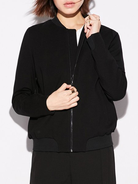 Shift Paneled Stand Collar Long Sleeve Casual Bomber Jacket