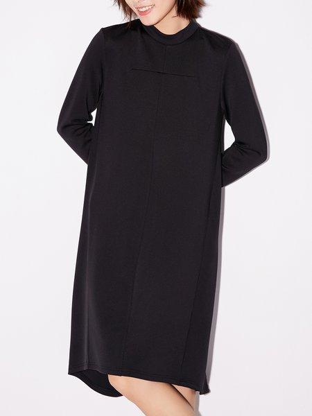 Stand Collar Casual Midi Dress