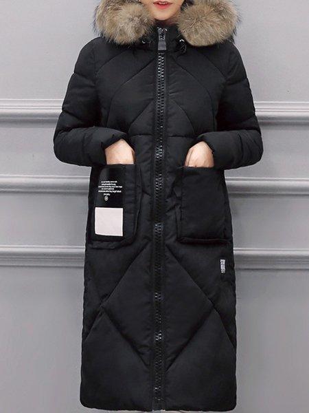 Casual Pockets Long Sleeve Down Coat