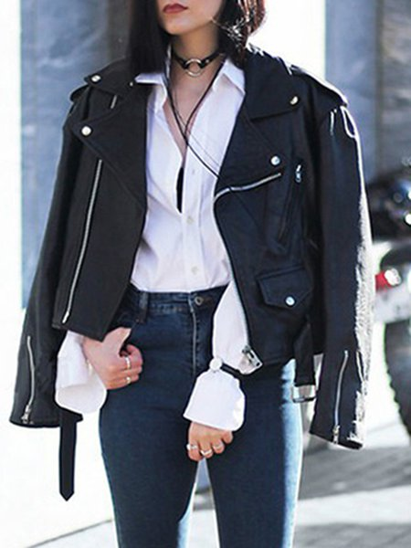 Long Sleeve Zipper Solid Cropped Jacket