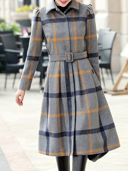 Casual Checkered/Plaid Long Sleeve Coat