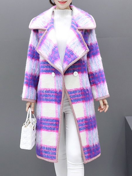 Purple Long Sleeve Buttoned H-line Checkered/Plaid Coat