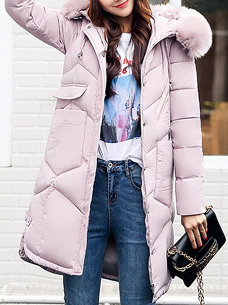 Plus Size Long Sleeve H-line Hoodie Coat