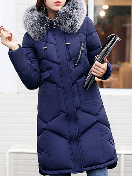 Plus Size Long Sleeve Casual Hoodie H-line Fur And Shearling Coats