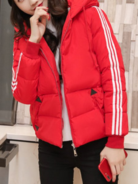 Plus Size Red Hoodie Casual Coat