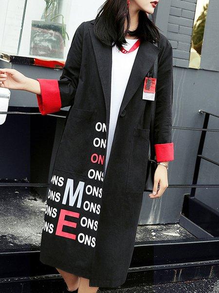 Black Printed Lapel Casual Trench Coat