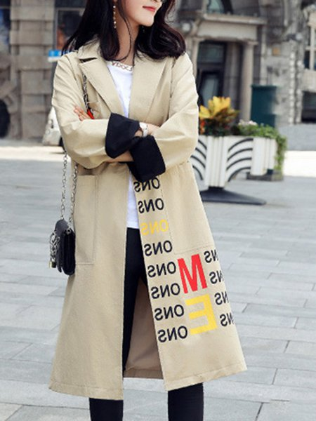 Lapel H-line Long Sleeve Trench Coat