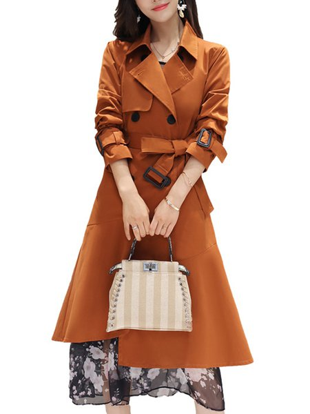 Brown Lapel Casual Zipper Trench Coat-With Belt