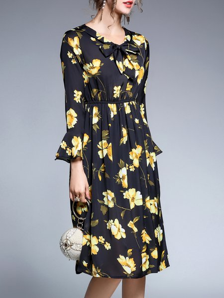 Multicolor Printed Bell Sleeve A-line Floral Midi Dress